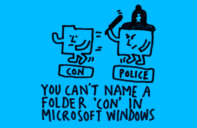 You can't name a folder 'con' in Microsoft Windows